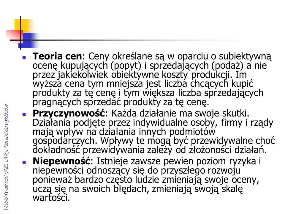 Witold Kwaśnicki (INE, UWr), Notatki do wykładów Teoria cen: Ceny określane są w oparciu o subiektywną ocenę kupujących (popyt) i sprzedających (podaż) a nie przez jakiekolwiek obiektywne koszty produkcji.