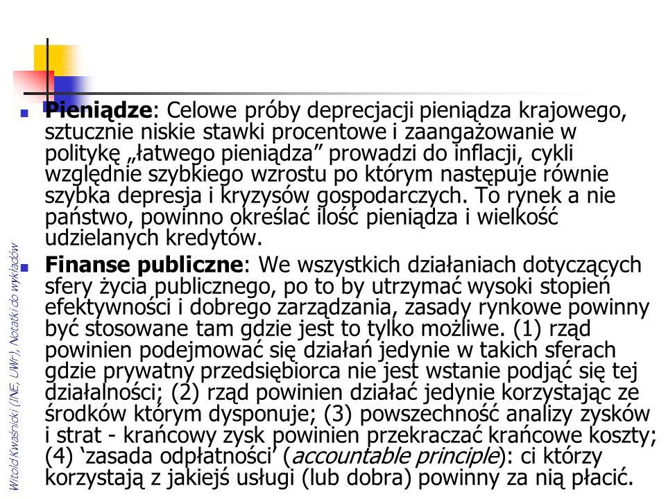 Witold Kwaśnicki (INE, UWr), Notatki do wykładów Pieniądze: Celowe próby deprecjacji pieniądza krajowego, sztucznie niskie stawki procentowe i zaangażowanie w politykę łatwego pieniądza prowadzi do inflacji, cykli względnie szybkiego wzrostu po którym następuje równie szybka depresja i kryzysów gospodarczych.