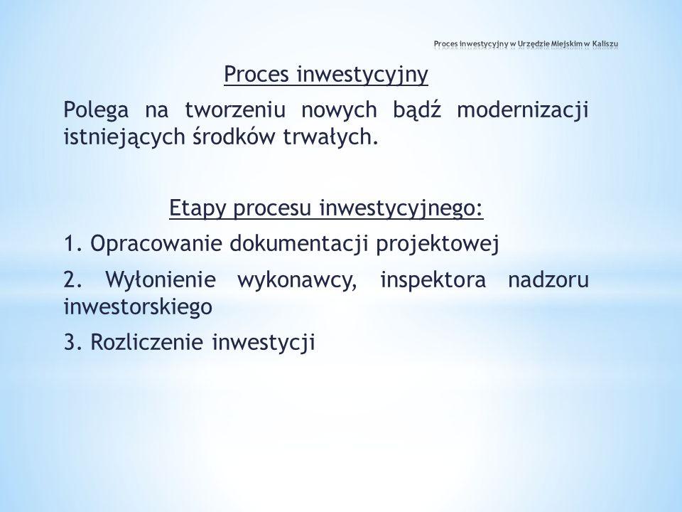 Proces inwestycyjny Polega na tworzeniu nowych bądź modernizacji istniejących środków trwałych. Etapy procesu inwestycyjnego: 1. Opracowanie dokumenta