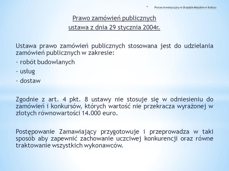 Prawo zamówień publicznych ustawa z dnia 29 stycznia 2004r. Ustawa prawo zamówień publicznych stosowana jest do udzielania zamówień publicznych w zakr