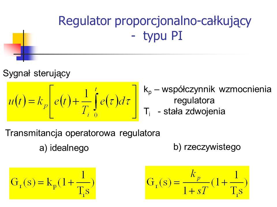 Regulator proporcjonalno-całkujący - typu PI Systemy wbudowane Sygnał sterujący Transmitancja operatorowa regulatora k p – współczynnik wzmocnienia re