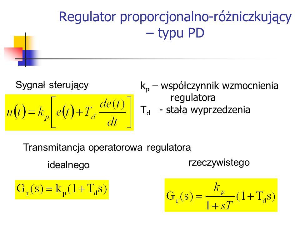 Systemy wbudowane k p – współczynnik wzmocnienia regulatora T d - stała wyprzedzenia Sygnał sterujący Transmitancja operatorowa regulatora idealnego r