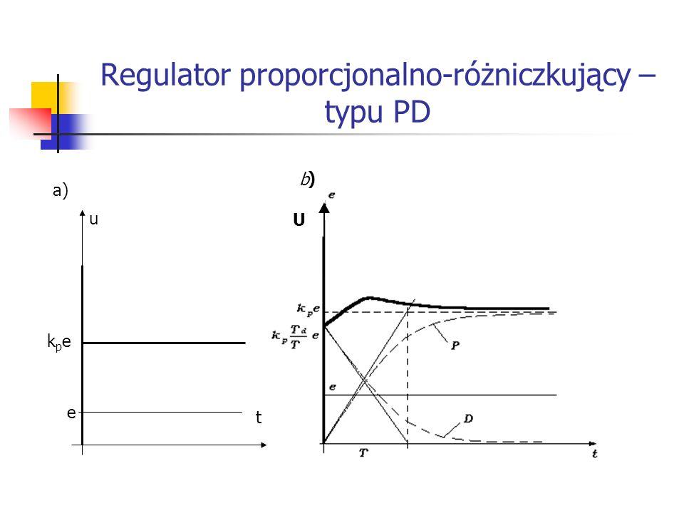 Systemy wbudowane Regulator proporcjonalno-różniczkujący – typu PD a) kpekpe e t u b ) U