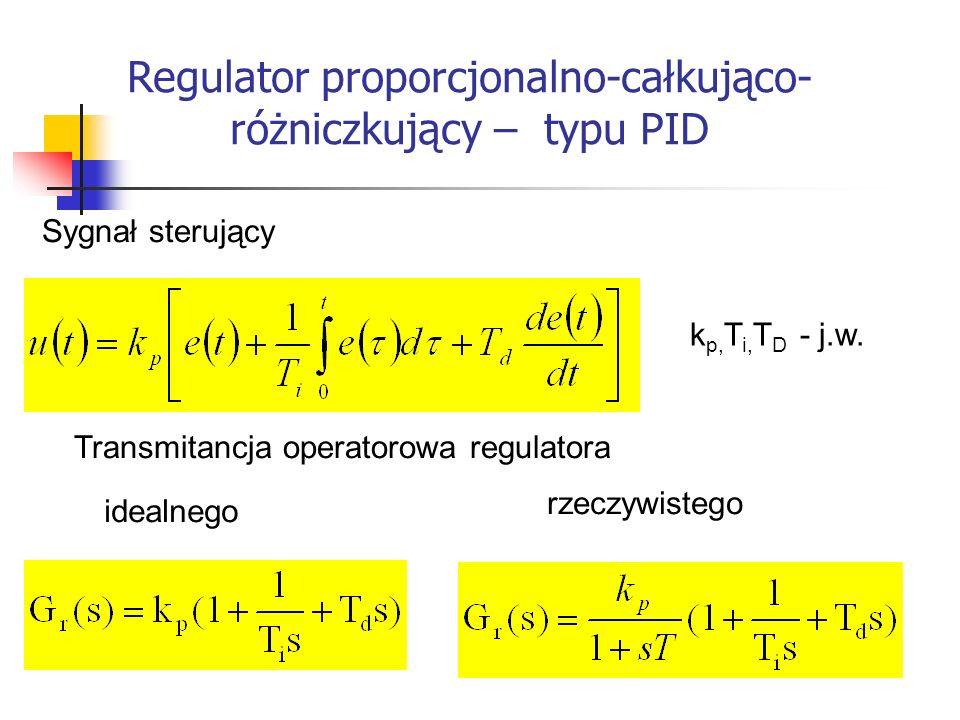 Systemy wbudowane Transmitancja operatorowa regulatora Sygnał sterujący k p, T i, T D - j.w. idealnego rzeczywistego Regulator proporcjonalno-całkując