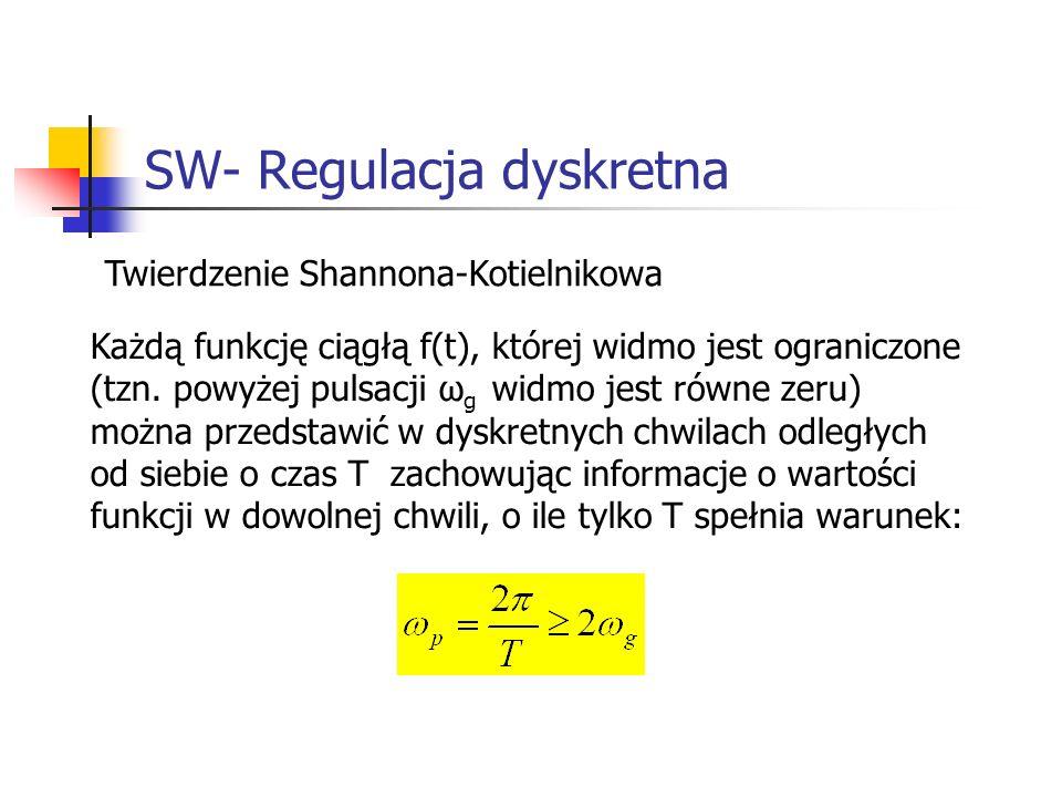 SW- Regulacja dyskretna Systemy wbudowane Twierdzenie Shannona-Kotielnikowa Każdą funkcję ciągłą f(t), której widmo jest ograniczone (tzn.