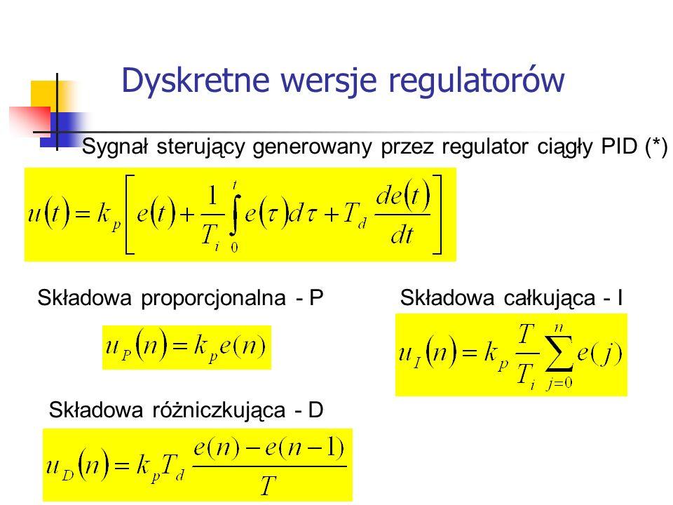 Dyskretne wersje regulatorów Systemy wbudowane Sygnał sterujący generowany przez regulator ciągły PID (*) Składowa proporcjonalna - P Składowa całkują