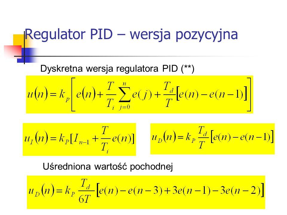 Regulator PID – wersja pozycyjna Systemy wbudowane Dyskretna wersja regulatora PID (**) Uśredniona wartość pochodnej