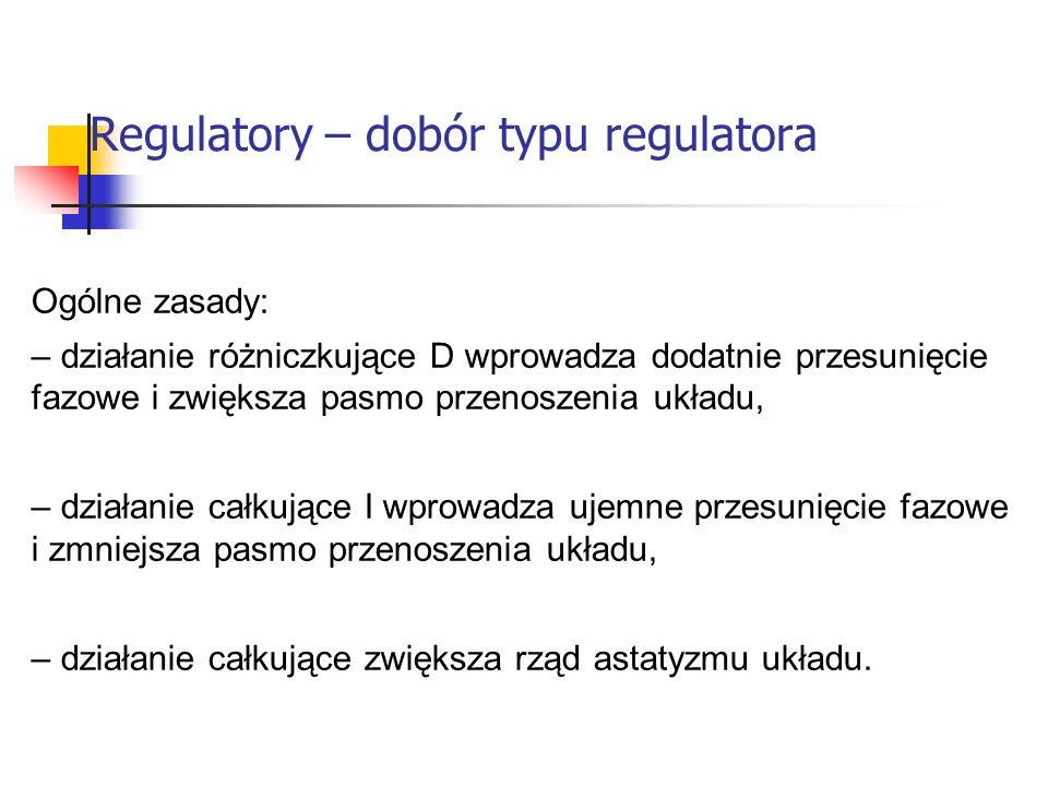 Regulatory – dobór typu regulatora Systemy wbudowane Ogólne zasady: – działanie różniczkujące D wprowadza dodatnie przesunięcie fazowe i zwiększa pasm