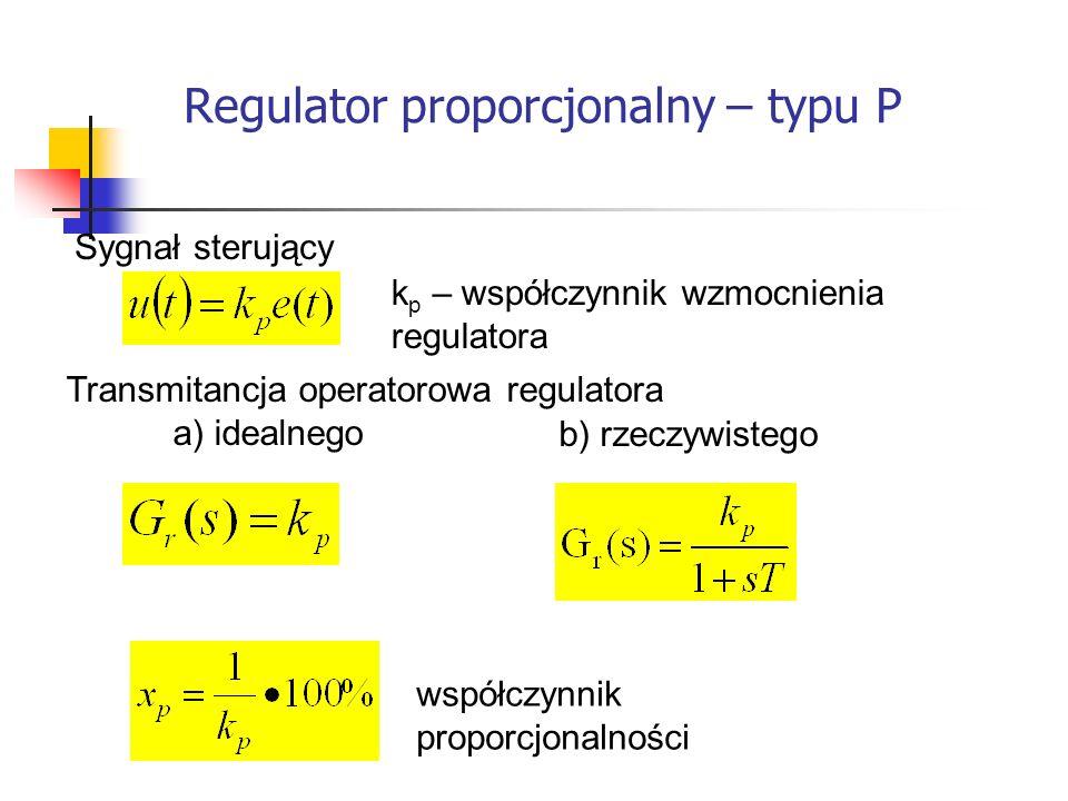 Regulator proporcjonalny – typu P Systemy wbudowane k p – współczynnik wzmocnienia regulatora Sygnał sterujący Transmitancja operatorowa regulatora a) idealnego współczynnik proporcjonalności b) rzeczywistego