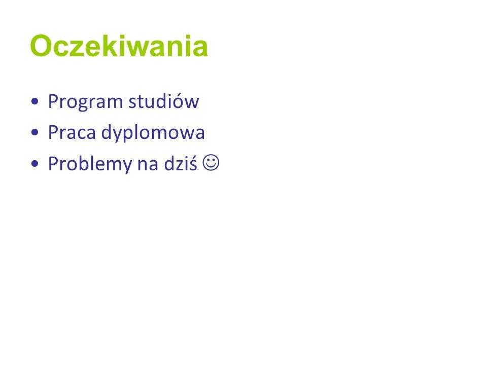Oczekiwania Program studiów Praca dyplomowa Problemy na dziś