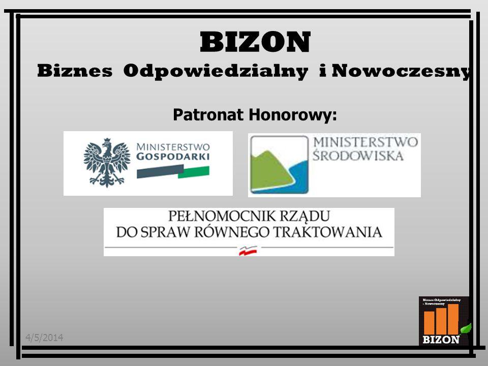 4/5/20141 BIZON Biznes Odpowiedzialny i Nowoczesny Patronat Honorowy: