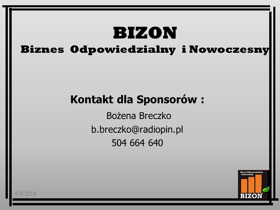 4/5/201411 Kontakt dla Sponsorów : Bożena Breczko b.breczko@radiopin.pl 504 664 640 BIZON Biznes Odpowiedzialny i Nowoczesny