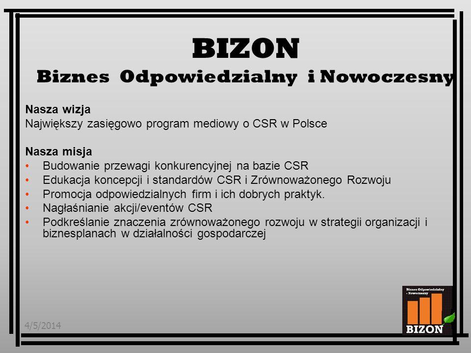 4/5/20142 Nasza wizja Największy zasięgowo program mediowy o CSR w Polsce Nasza misja Budowanie przewagi konkurencyjnej na bazie CSR Edukacja koncepcji i standardów CSR i Zrównoważonego Rozwoju Promocja odpowiedzialnych firm i ich dobrych praktyk.