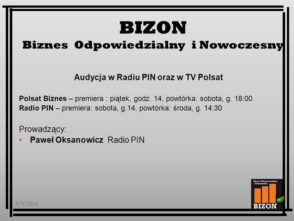 4/5/20144 Kontent programu: Przedstawienie tematu - idee, strategie, inicjatywy podejmowane w Polsce i na świecie – słownik pojęć Przykłady dobrych praktyk – z udziałem przedstawicieli firm wdrażających CSR Komentarze ekspertów Nowinki ze świata, zapowiedzi wydarzeń CSR www.radiopin.pl/bizon, mail: bizon@radiopin.plwww.radiopin.pl/bizon BIZON Biznes Odpowiedzialny i Nowoczesny