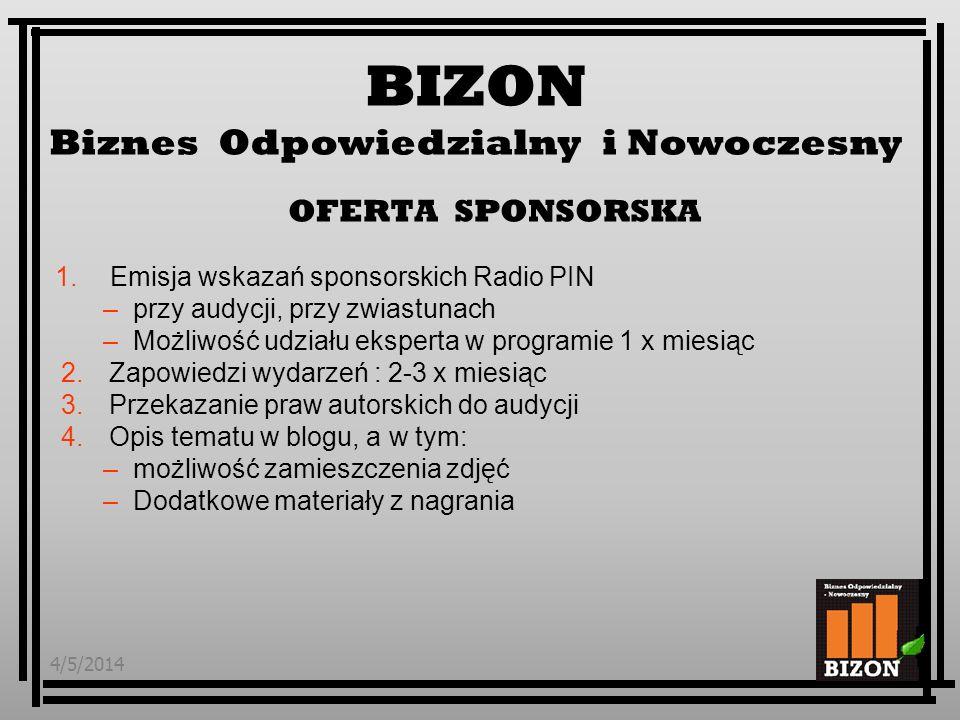 4/5/20146 1.Dotarcie do grupy 450 tys (promocja tygodniowa) słuchaczy radia PIN 2.Dotarcie do grupy 500 tys (promocja tygodniowa) widzów Polsat Biznes 3.Obecność w opiniotwórczym medium biznesowym 4.Budowanie wizerunku firmy Odpowiedzialnej (CSR) 5.Patronat medialny programu przy Wydarzeniach Sponsora BIZON Biznes Odpowiedzialny i Nowoczesny Korzy ś ci