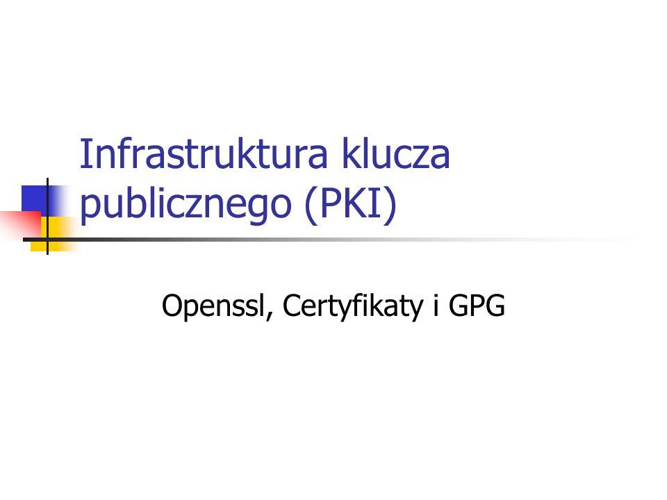 Openssl - dostępny również dla MS Windows Instalacja pod MS Windows Pobierz plik http://gnuwin32.sourceforge.net/downlinks/opens sl-bin-zip.php http://gnuwin32.sourceforge.net/downlinks/opens sl-bin-zip.php Można pobrać również dokumentację: http://gnuwin32.sourceforge.net/downlinks/opens sl-doc-zip.php Wypakuj zawartość plików w dowolnym miejscu Uruchom konsole i przejdź do wypakowanego katalogu – ściślej podkatalogu bin