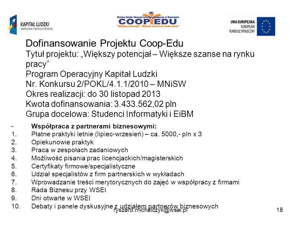 Dofinansowanie Projektu Coop-Edu Tytuł projektu: Większy potencjał – Większe szanse na rynku pracy Program Operacyjny Kapitał Ludzki Nr.