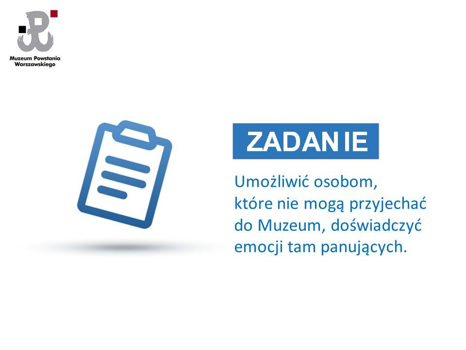 Umożliwić osobom, które nie mogą przyjechać do Muzeum, doświadczyć emocji tam panujących.