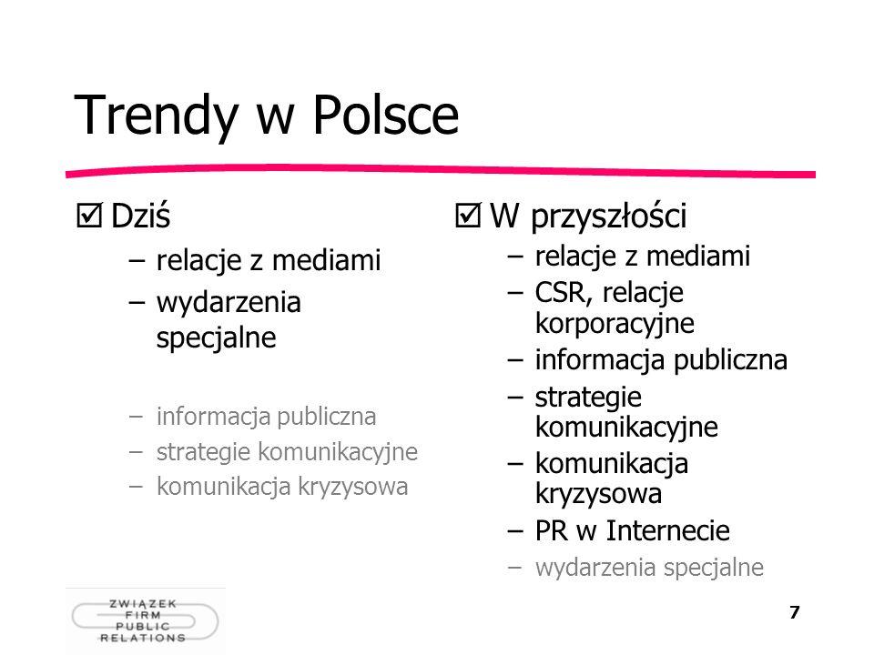 7 Trendy w Polsce Dziś –relacje z mediami –wydarzenia specjalne –informacja publiczna –strategie komunikacyjne –komunikacja kryzysowa W przyszłości –r
