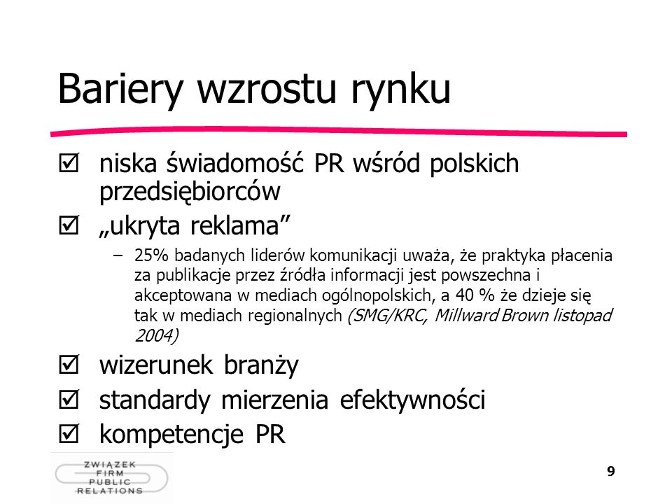 9 Bariery wzrostu rynku niska świadomość PR wśród polskich przedsiębiorców ukryta reklama –25% badanych liderów komunikacji uważa, że praktyka płaceni