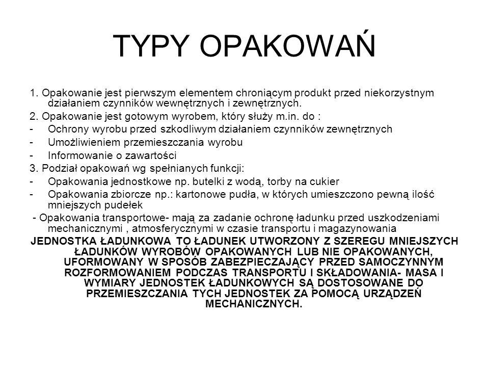 TYPY OPAKOWAŃ 1. Opakowanie jest pierwszym elementem chroniącym produkt przed niekorzystnym działaniem czynników wewnętrznych i zewnętrznych. 2. Opako