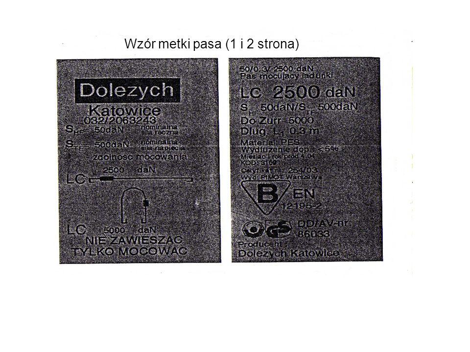 Wzór metki pasa (1 i 2 strona)