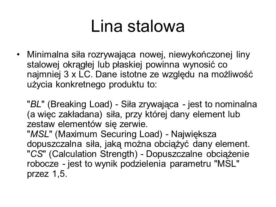 Lina stalowa Minimalna siła rozrywająca nowej, niewykończonej liny stalowej okrągłej lub płaskiej powinna wynosić co najmniej 3 x LC. Dane istotne ze