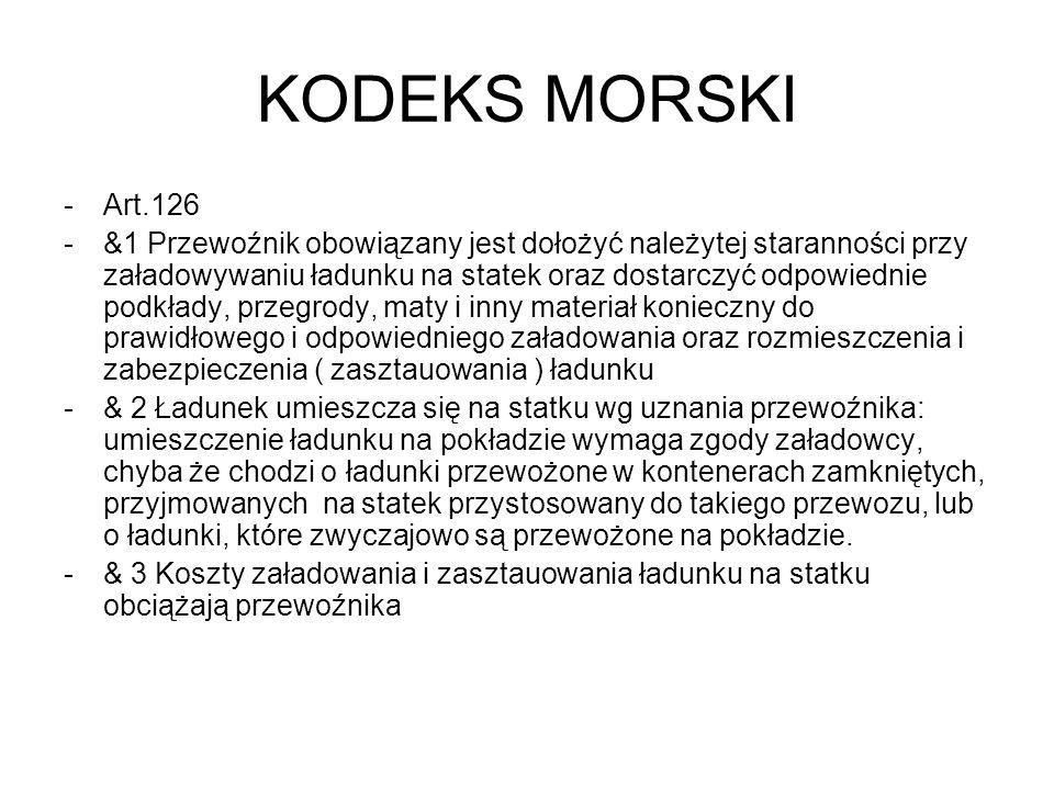 KODEKS MORSKI -Art.126 -&1 Przewoźnik obowiązany jest dołożyć należytej staranności przy załadowywaniu ładunku na statek oraz dostarczyć odpowiednie p