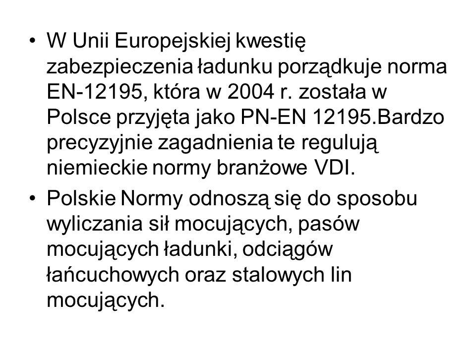 W Unii Europejskiej kwestię zabezpieczenia ładunku porządkuje norma EN-12195, która w 2004 r. została w Polsce przyjęta jako PN-EN 12195.Bardzo precyz