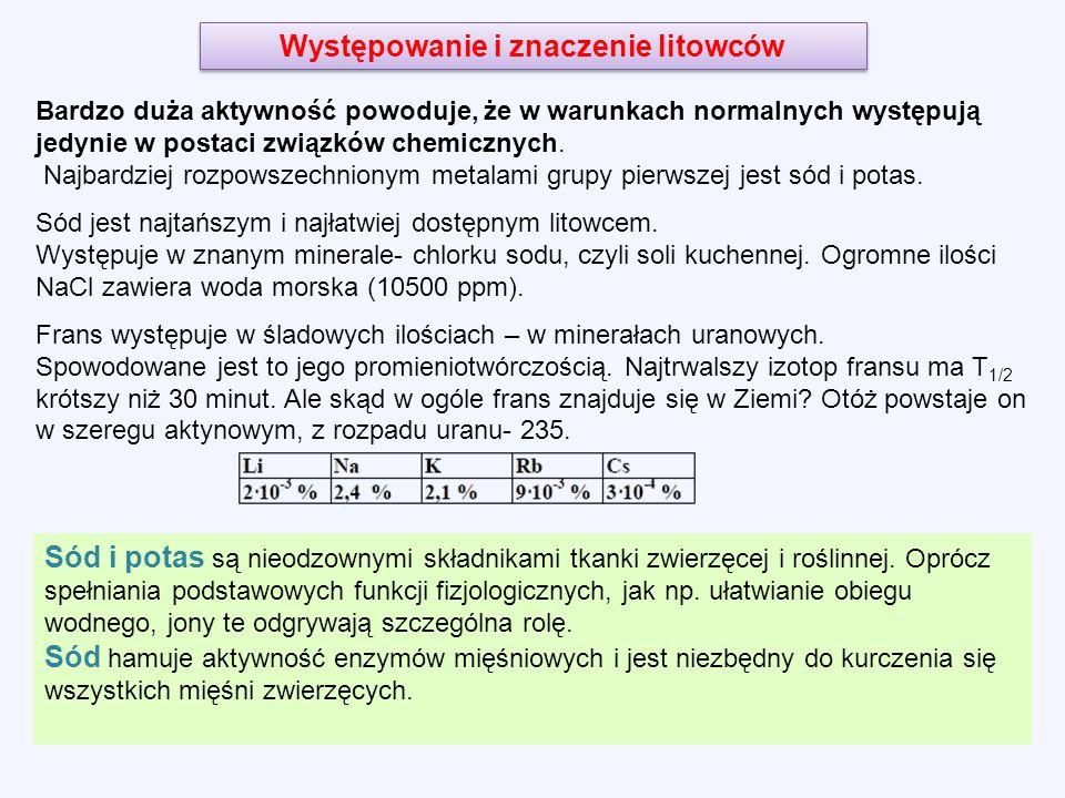 Występowanie i znaczenie litowców Bardzo duża aktywność powoduje, że w warunkach normalnych występują jedynie w postaci związków chemicznych.