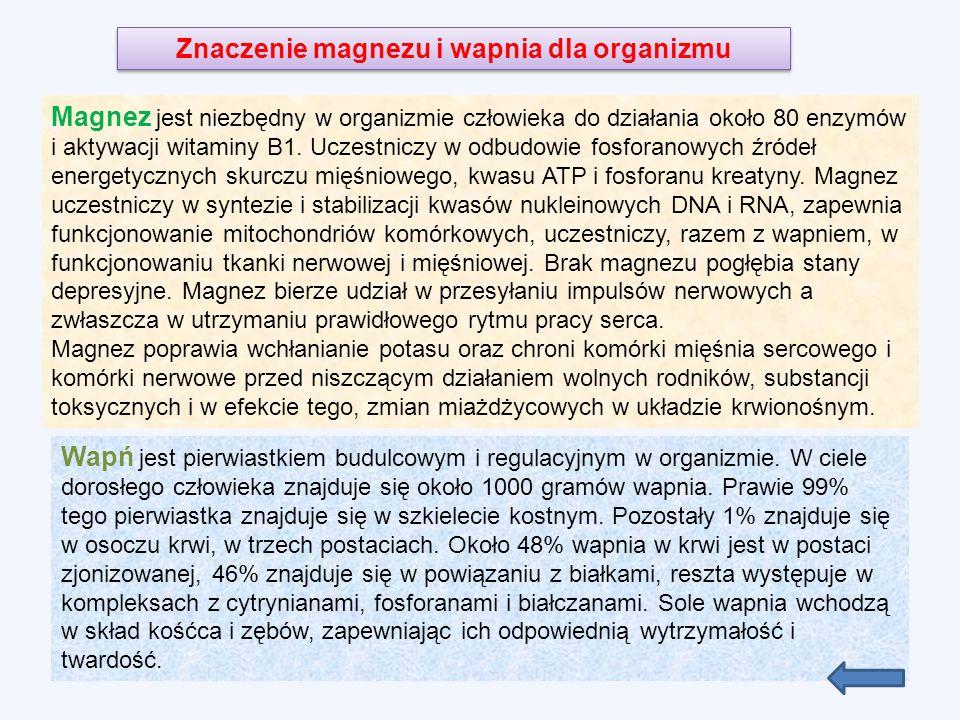 Magnez jest niezbędny w organizmie człowieka do działania około 80 enzymów i aktywacji witaminy B1.