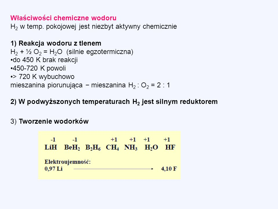 Właściwości chemiczne wodoru H 2 w temp.