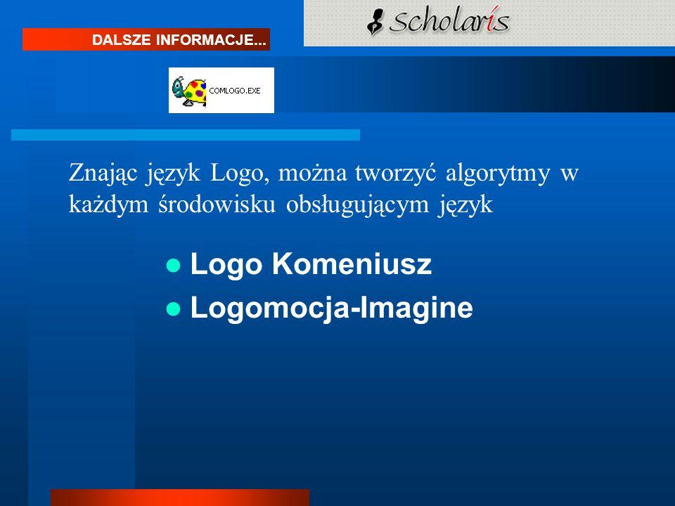 DALSZE INFORMACJE... Znając język Logo, można tworzyć algorytmy w każdym środowisku obsługującym język Logo Komeniusz Logomocja-Imagine