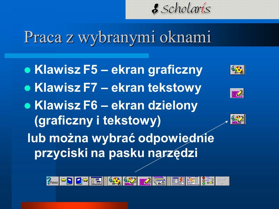 Praca z wybranymi oknami Klawisz F5 – ekran graficzny Klawisz F7 – ekran tekstowy Klawisz F6 – ekran dzielony (graficzny i tekstowy) lub można wybrać
