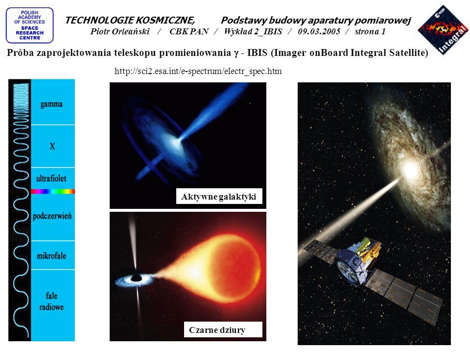 Układ VETO (antykoincydencji): 16 bloków fotopowielaczy (specjalne kryształy z BGO reagujące błyskami światła na promieniowanie gamma i bardzo czułe i szybkie detektory światła) Veto Electronics Box (weryfikacja i obróbka impulsów, zasilanie i sterowanie VETO, generacja impulsów blokujących detektory główne) Teleskop IBIS - zakłócenia TECHNOLOGIE KOSMICZNE, Podstawy budowy aparatury pomiarowej Piotr Orleański / CBK PAN / Wykład 2_IBIS / 09.03.2005 / strona 12
