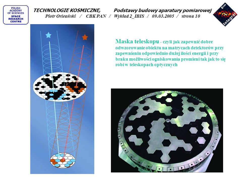 Maska teleskopu - czyli jak zapewnić dobre odwzorowanie obiektu na matrycach detektorów przy zapewnieniu odpowiednio dużej ilości energii i przy braku