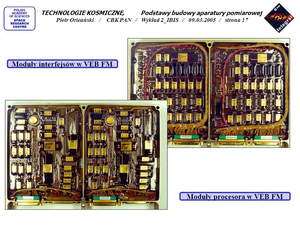 Moduły interfejsów w VEB FM Moduły procesora w VEB FM TECHNOLOGIE KOSMICZNE, Podstawy budowy aparatury pomiarowej Piotr Orleański / CBK PAN / Wykład 2