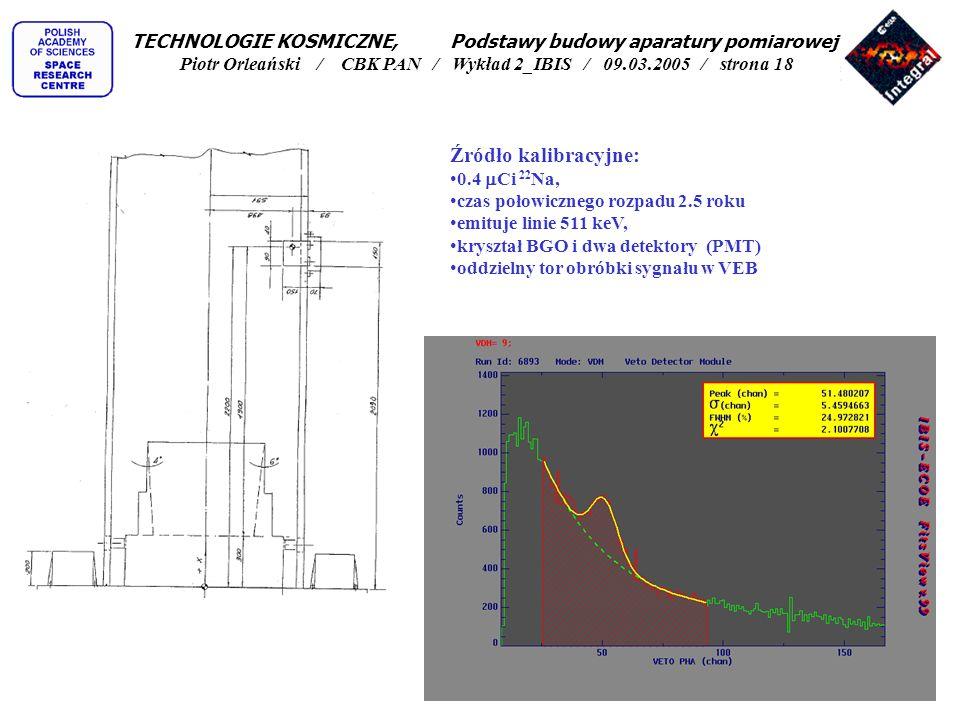 Źródło kalibracyjne: 0.4 Ci 22 Na, czas połowicznego rozpadu 2.5 roku emituje linie 511 keV, kryształ BGO i dwa detektory (PMT) oddzielny tor obróbki
