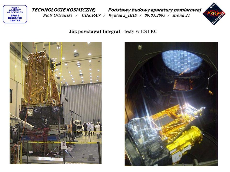 Jak powstawał Integral - testy w ESTEC TECHNOLOGIE KOSMICZNE, Podstawy budowy aparatury pomiarowej Piotr Orleański / CBK PAN / Wykład 2_IBIS / 09.03.2