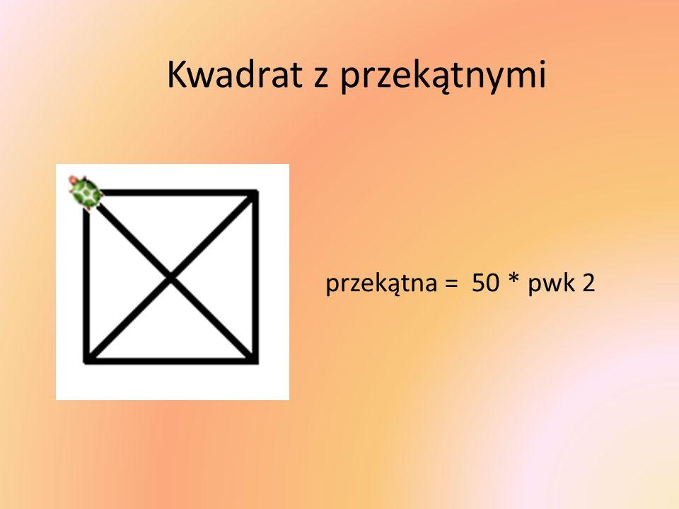 przekątna = 50 * pwk 2 Kwadrat z przekątnymi