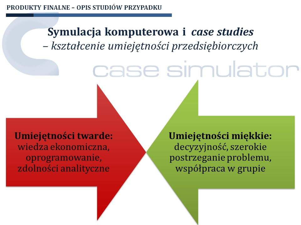 EFEKTYWNOŚĆ DZIAŁAŃ SZKOLENIOWYCH Wzrost poziomu wiedzy studentów uczestniczących w projekcie Case Simulator