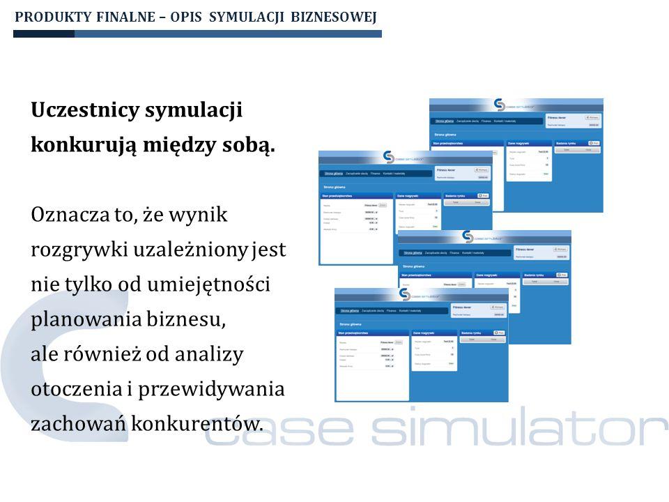PRODUKTY FINALNE – OPIS SYMULACJI BIZNESOWEJ Platforma umożliwia pełną kontrolę prowadzącego nad przebiegiem rozgrywki.