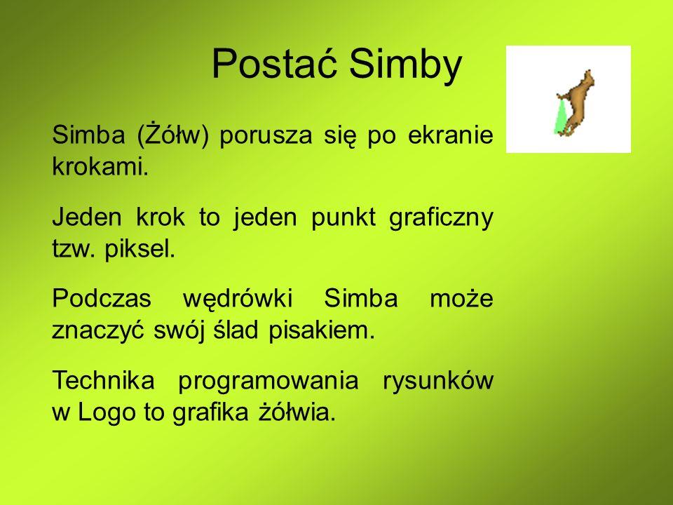 Postać Simby Simba (Żółw) porusza się po ekranie krokami. Jeden krok to jeden punkt graficzny tzw. piksel. Podczas wędrówki Simba może znaczyć swój śl