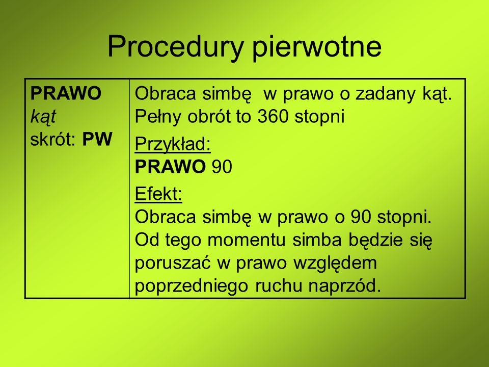 Procedury pierwotne PRAWO kąt skrót: PW Obraca simbę w prawo o zadany kąt. Pełny obrót to 360 stopni Przykład: PRAWO 90 Efekt: Obraca simbę w prawo o