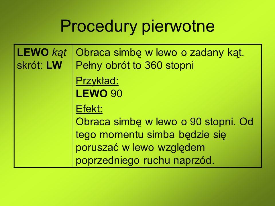 Procedury pierwotne LEWO kąt skrót: LW Obraca simbę w lewo o zadany kąt. Pełny obrót to 360 stopni Przykład: LEWO 90 Efekt: Obraca simbę w lewo o 90 s