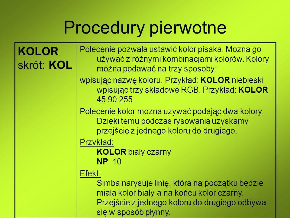 Procedury pierwotne KOLOR skrót: KOL Polecenie pozwala ustawić kolor pisaka. Można go używać z różnymi kombinacjami kolorów. Kolory można podawać na t