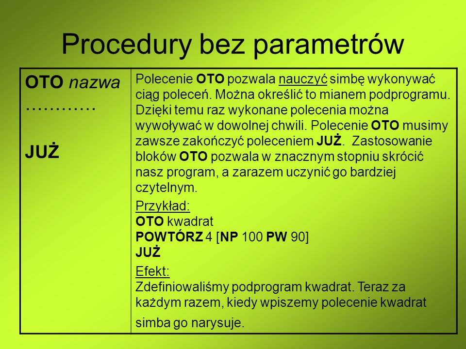 Procedury bez parametrów OTO nazwa ………… JUŻ Polecenie OTO pozwala nauczyć simbę wykonywać ciąg poleceń. Można określić to mianem podprogramu. Dzięki t