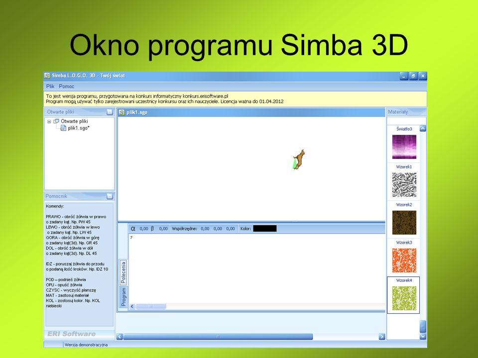 Postać Simby Simba (Żółw) porusza się po ekranie krokami.