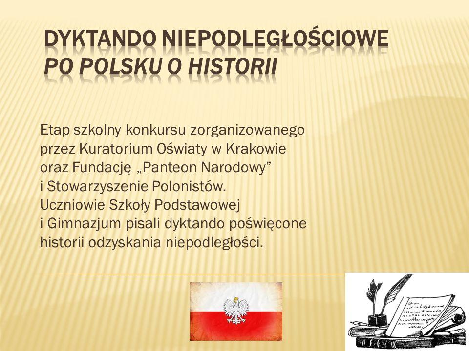 Etap szkolny konkursu zorganizowanego przez Kuratorium Oświaty w Krakowie oraz Fundację Panteon Narodowy i Stowarzyszenie Polonistów. Uczniowie Szkoły