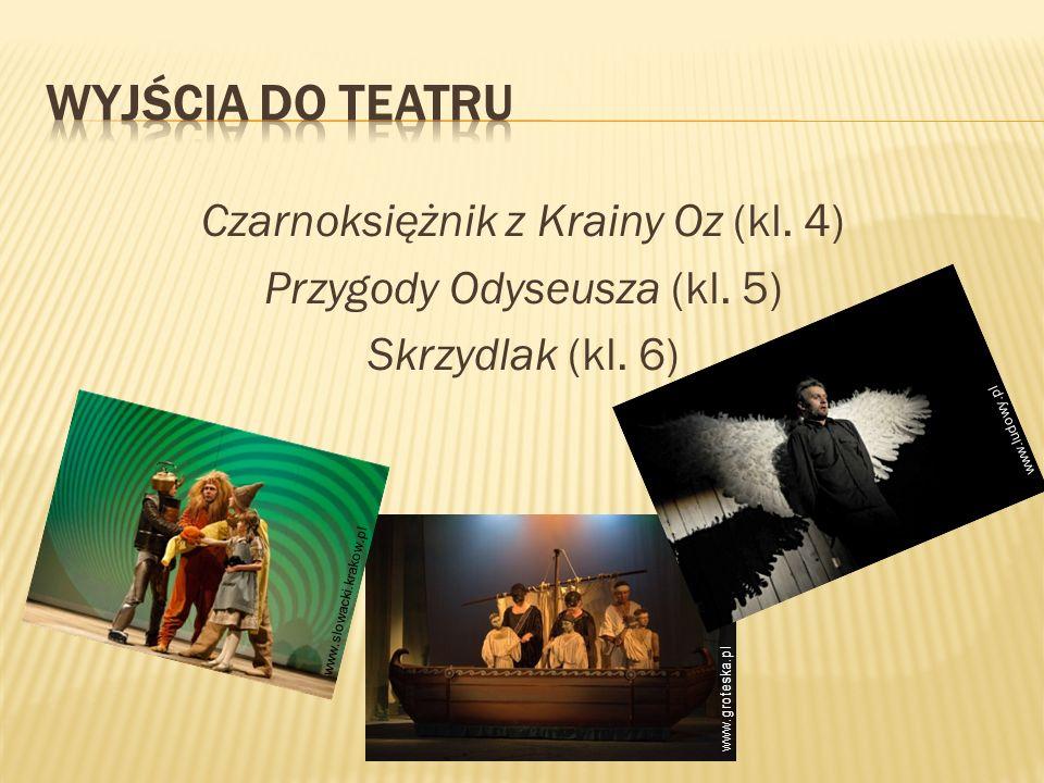 Czarnoksiężnik z Krainy Oz (kl. 4) Przygody Odyseusza (kl. 5) Skrzydlak (kl. 6) www.slowacki.krakow.pl www.ludowy.pl www.groteska.pl